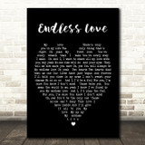 Endless Love Luther Vandross Black Heart Song Lyric Quote Print
