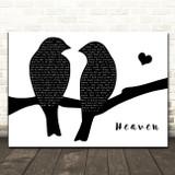 Bryan Adams Heaven Lovebirds Black & White Decorative Wall Art Gift Song Lyric Print