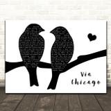 Wilco Via Chicago Lovebirds Black & White Decorative Wall Art Gift Song Lyric Print
