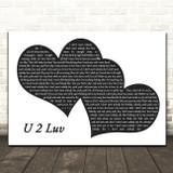 Ne-Yo & Jeremih U 2 Luv Landscape Black & White Two Hearts Song Lyric Print