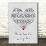 Bon Jovi Thank You For Loving Me Grey Heart Song Lyric Quote Print