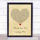 Bon Jovi Thank You For Loving Me Vintage Heart Song Lyric Quote Print