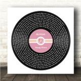 Square Pink Heart Vinyl Record Label Any Song Lyric Personalised Music Art Print