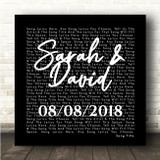 Black Square Simple Script Any Song Lyric Personalised Music Wall Art Print