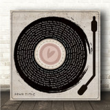 Heart Vinyl Record & Needle Square Any Song Lyric Personalised Music Art Print