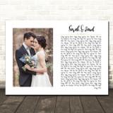 White Landscape Script Rectangle Wedding Photo Any Song Lyric Wall Art Print