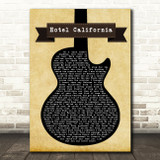 Eagles Hotel California Black Guitar Song Lyric Quote Print