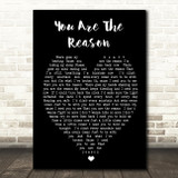 Calum Scott You Are The Reason Black Heart Song Lyric Quote Print