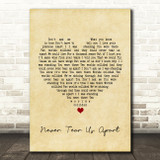 INXS Never Tear Us Apart Vintage Heart Song Lyric Quote Print
