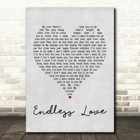 Lionel Richie & Mariah Carey Endless Love Grey Heart Song Lyric Quote Print
