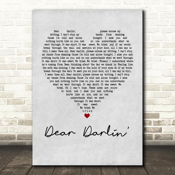 Olly Murs Dear Darlin' Grey Heart Song Lyric Quote Print