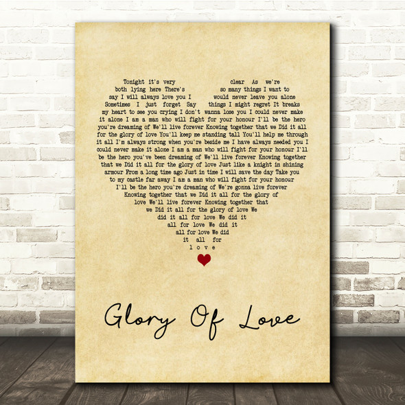 Peter Cetera Glory Of Love Vintage Heart Song Lyric Quote Print