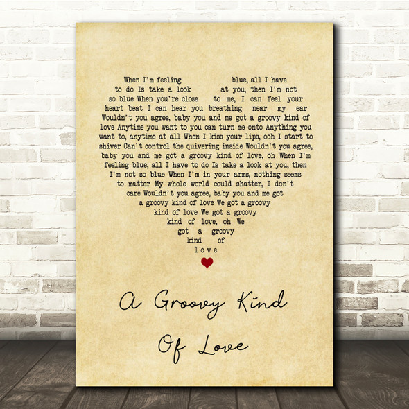 Phil Collins A Groovy Kind Of Love Vintage Heart Song Lyric Quote Print