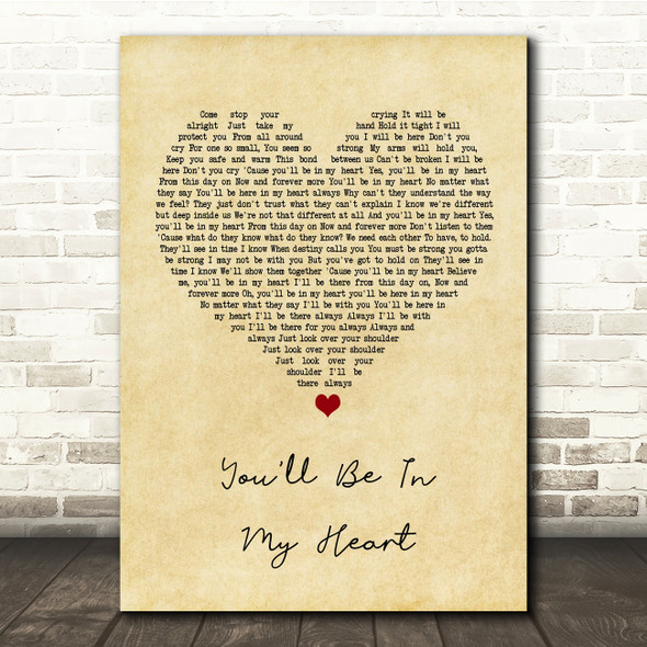 Phil Collins You'll Be In My Heart Vintage Heart Song Lyric Quote Print