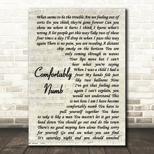 Pink Floyd Comfortably Numb Vintage Script Song Lyric Quote Print