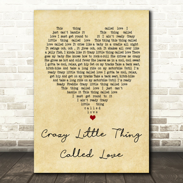 Queen Crazy Little Thing Called Love Vintage Heart Song Lyric Quote Print