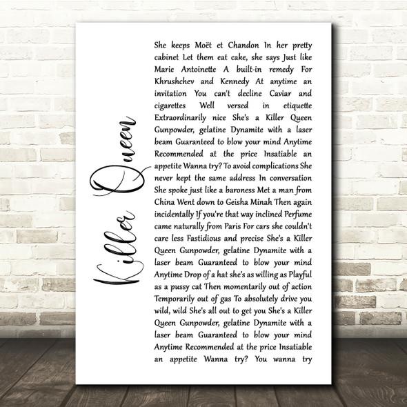 Queen Killer Queen White Script Song Lyric Quote Print