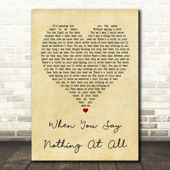 Ronan Keating When You Say Nothing At All Vintage Heart Song Lyric Quote Print