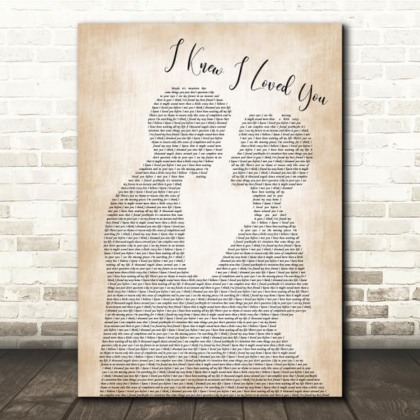 Savage Garden I Knew I Loved You Man Lady Bride Groom Wedding Song Lyric Print