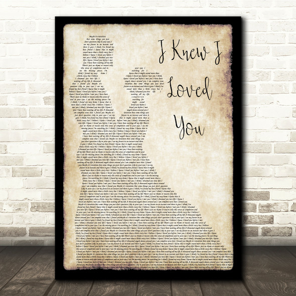 Savage Garden I Knew I Loved You Man Lady Dancing Song Lyric Quote Print