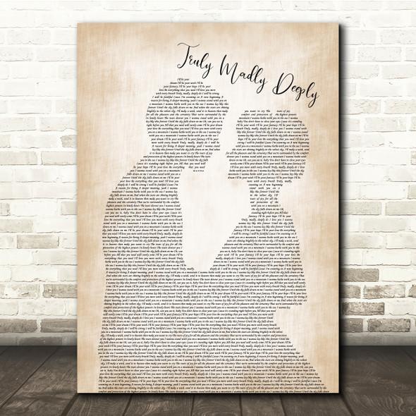 Savage Garden Truly Madly Deeply Man Lady Bride Groom Wedding Song Lyric Print