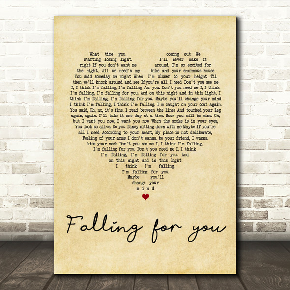 The 1975 Fallingforyou Vintage Heart Song Lyric Quote Print