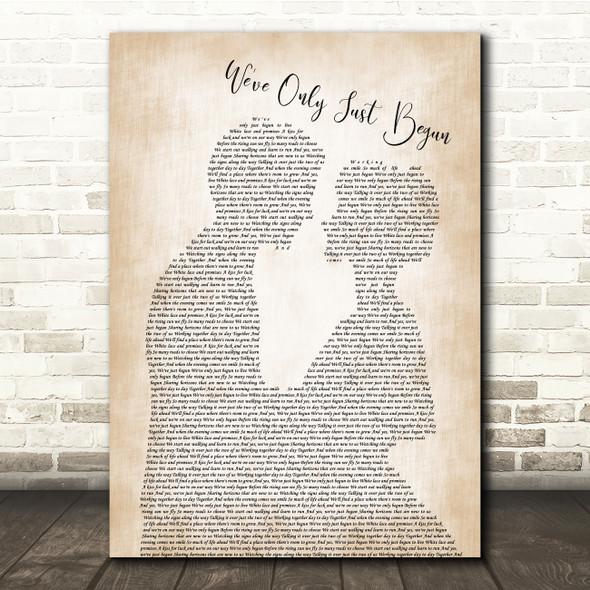 The Carpenters We've Only Just Begun Man Lady Bride Groom Song Lyric Print