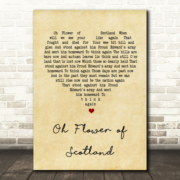 The Corries The Flower Of Scotland Vintage Heart Song Lyric Quote Print
