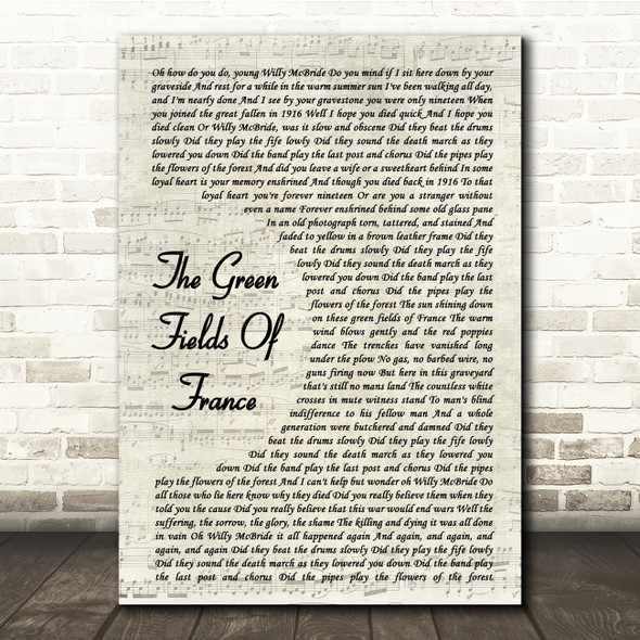 The Green Fields of France The Green Fields Of France Vintage Script Lyric Print