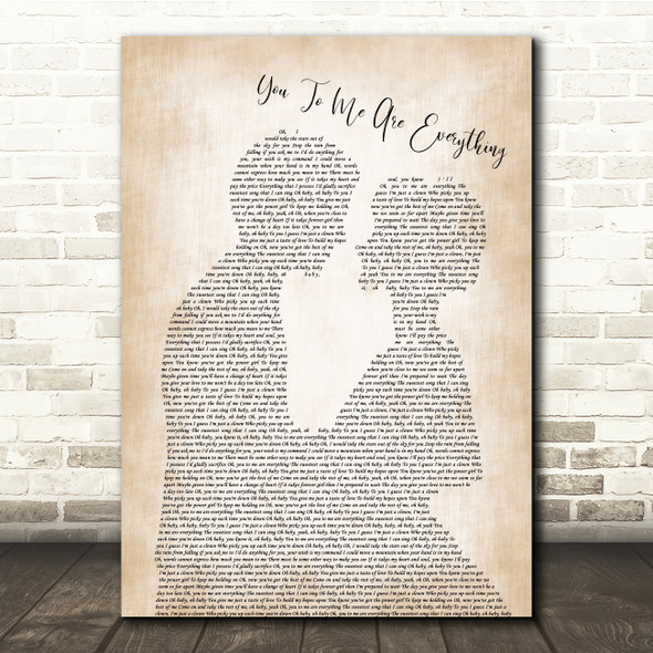 The Real Thing You To Me Are Everything Man Lady Bride Groom Song Lyric Print