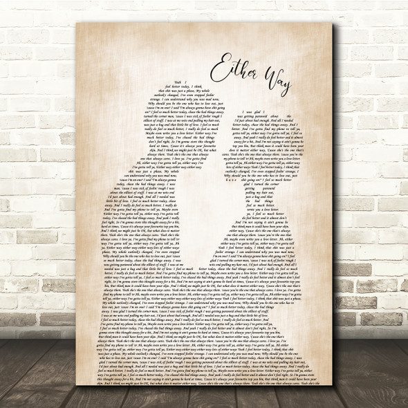 The Twang Either Way Man Lady Bride Groom Wedding Song Lyric Quote Print