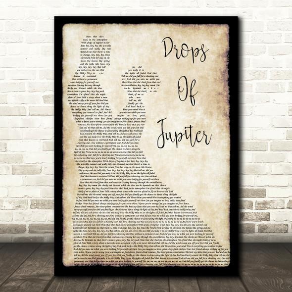 Train Drops Of Jupiter Man Lady Dancing Song Lyric Quote Print