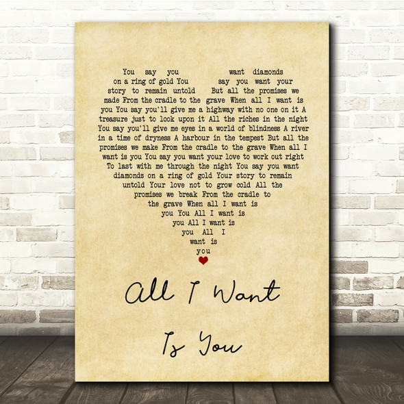 U2 All I Want Is You Vintage Heart Song Lyric Quote Print