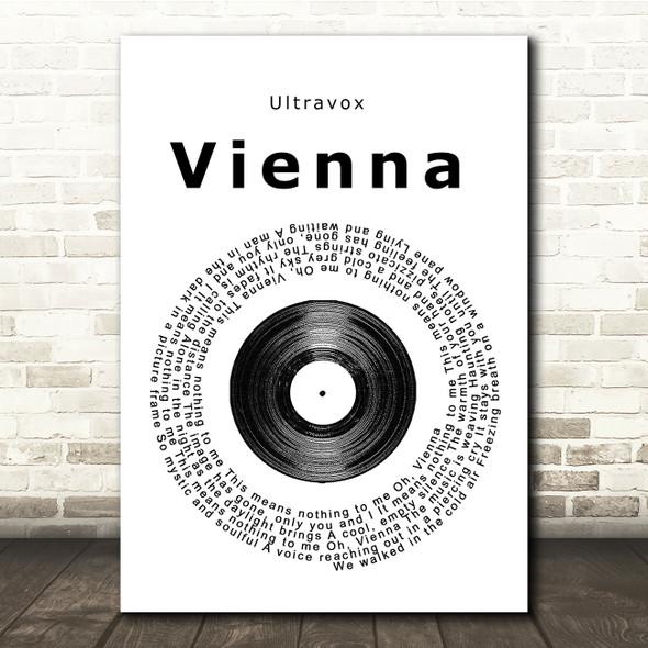 Ultravox Vienna Vinyl Record Song Lyric Quote Print