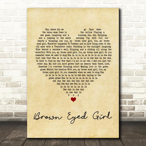 Van Morrison Brown Eyed Girl Vintage Heart Song Lyric Quote Print