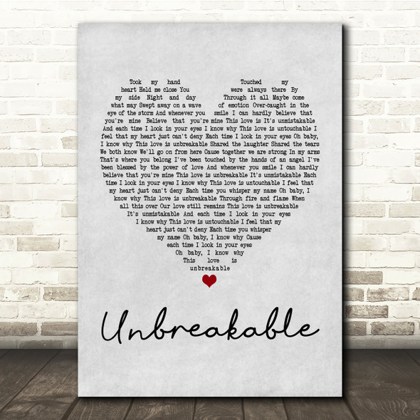 Westlife Unbreakable Grey Heart Song Lyric Quote Print