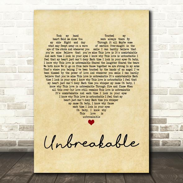 Westlife Unbreakable Vintage Heart Song Lyric Quote Print