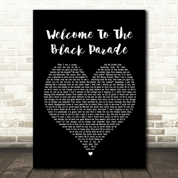 My Chemical Romance Welcome To The Black Parade Black Heart Song Lyric Print