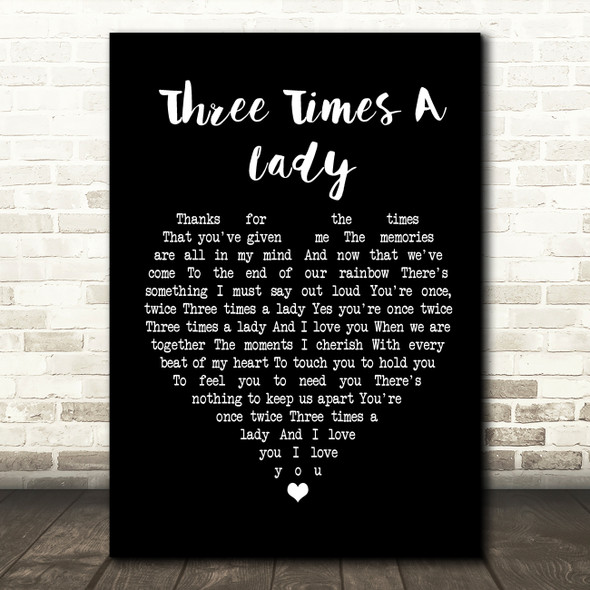 The Commodores Three Times A Lady Black Heart Song Lyric Quote Print