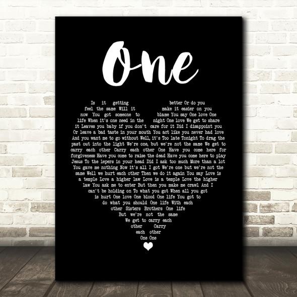 U2 One Black Heart Song Lyric Quote Print
