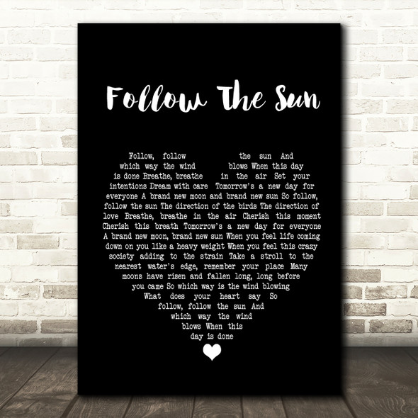 Xavier Rudd Follow The Sun Black Heart Song Lyric Quote Print