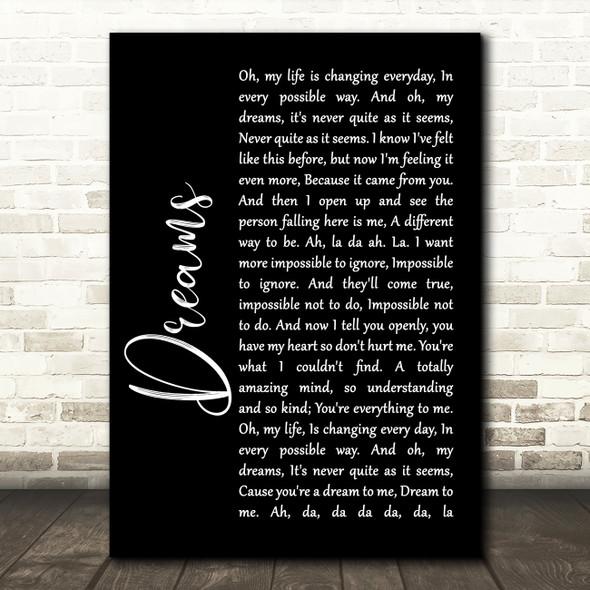 The Cranberries Dreams Black Script Song Lyric Print