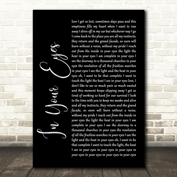 Peter Gabriel In Your Eyes Black Script Song Lyric Quote Print
