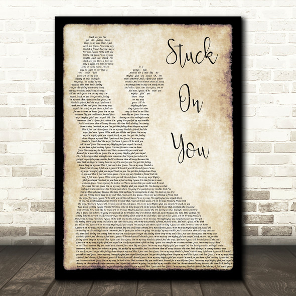 Lionel Richie Stuck On You Man Lady Dancing Song Lyric Quote Print