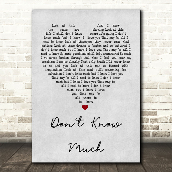 Aaron Neville and Linda Ronstadt Don't Know Much Grey Heart Song Lyric Print