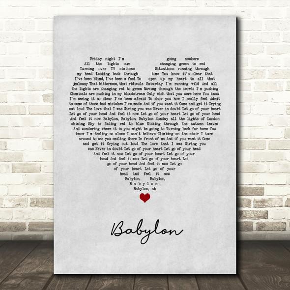David Gray Babylon Grey Heart Quote Song Lyric Print