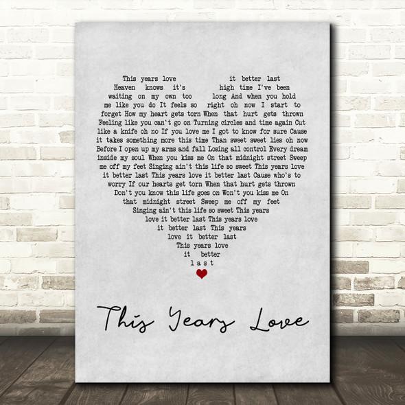 David Gray This Years Love Grey Heart Quote Song Lyric Print