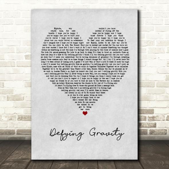 Idina Menzel Defying Gravity Grey Heart Quote Song Lyric Print