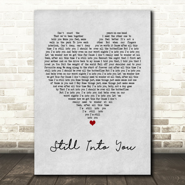 Paramore Still Into You Grey Heart Quote Song Lyric Print