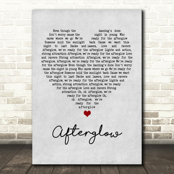 Wilkinson Afterglow Grey Heart Quote Song Lyric Print